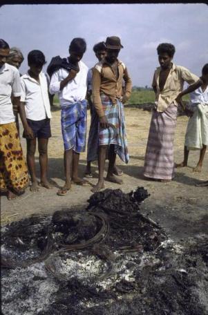 Burned body of victim of terrorist rebel